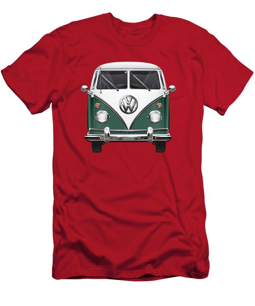 Volkswagen Type 2 - Green And White Volkswagen T 1 Samba Bus Over Red Canvas  Men's T-Shirt (Slim Fit) by Serge Averbukh