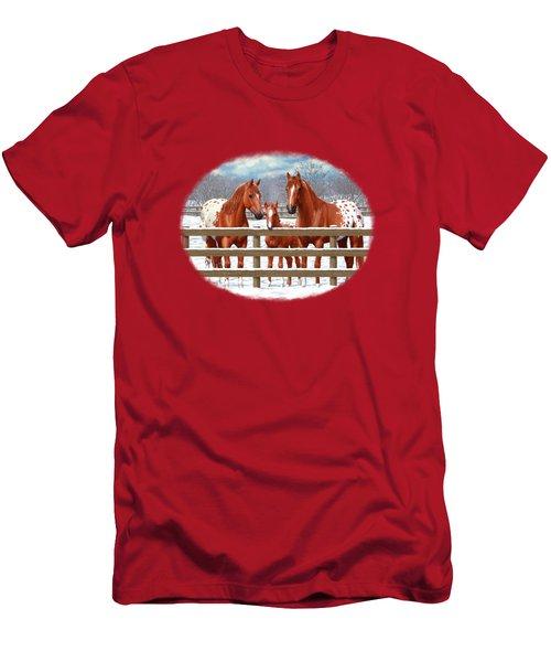 Chestnut Appaloosa Horses In Snow Men's T-Shirt (Athletic Fit)