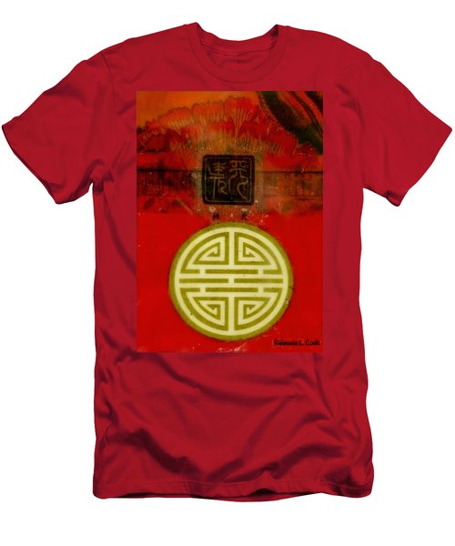 Asian Red Encaustic Men's T-Shirt (Slim Fit) by Bellesouth Studio
