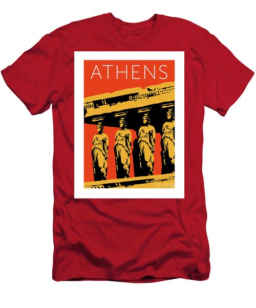 Men's T-Shirt (Athletic Fit) featuring the digital art Athens Erechtheum Orange by Sam Brennan