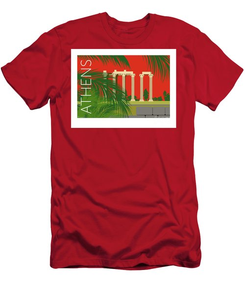 Men's T-Shirt (Athletic Fit) featuring the digital art Athens Temple Of Olympian Zeus - Orange by Sam Brennan