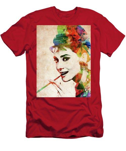 Audrey Hepburn Colorful Portrait Men's T-Shirt (Athletic Fit)