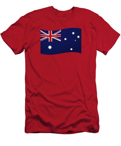 Men's T-Shirt (Slim Fit) featuring the photograph Australian Flag Waving Png By Kaye Menner by Kaye Menner