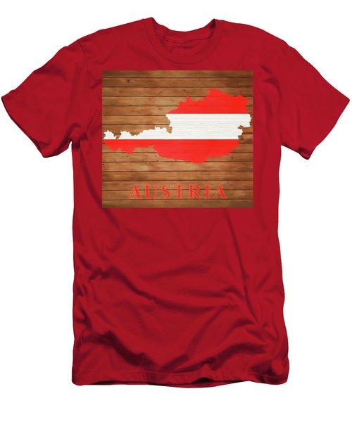 Austria Rustic Map On Wood Men's T-Shirt (Athletic Fit)