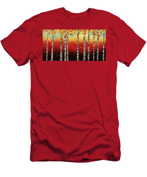 Men's T-Shirt (Slim Fit) featuring the painting Autumn Birch Trees by Carmen Guedez
