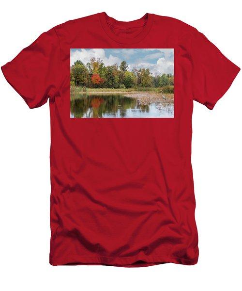 Autumn Blue Heron Men's T-Shirt (Athletic Fit)