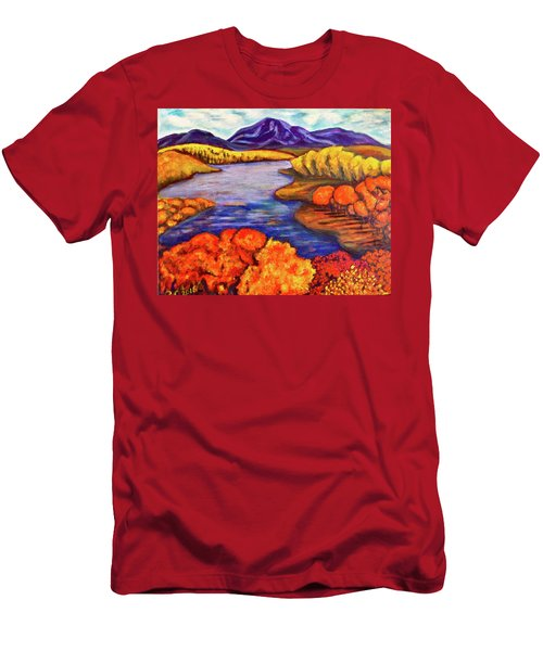 Men's T-Shirt (Slim Fit) featuring the painting Autumn Hues by Rae Chichilnitsky