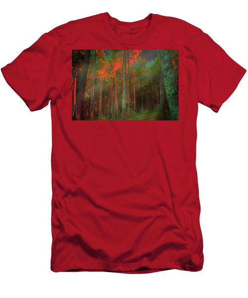 Men's T-Shirt (Slim Fit) featuring the photograph Autumn In The Magic Forest by Mimulux patricia no No