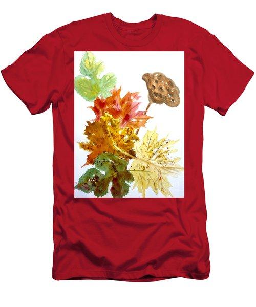 Autumn Leaves Still Life Men's T-Shirt (Slim Fit) by Ellen Levinson