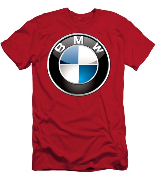 B M W Badge On Red  Men's T-Shirt (Athletic Fit)
