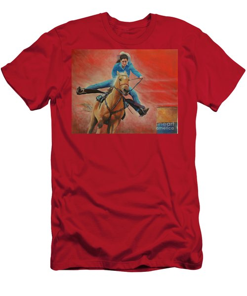 Barrel Racing Men's T-Shirt (Slim Fit) by Jeanette French