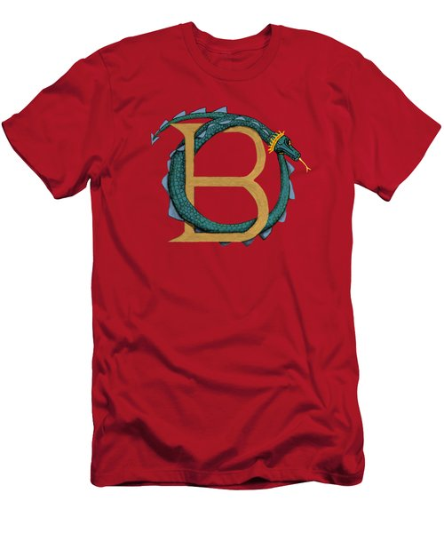 Men's T-Shirt (Slim Fit) featuring the digital art Basilisk Letter B by Donna Huntriss
