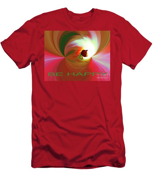 Be Happy, Red-rose With Physalis Men's T-Shirt (Athletic Fit)