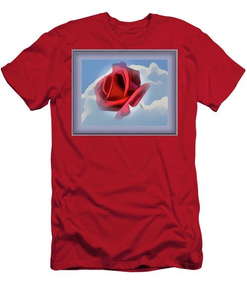 Beautiful Red Rose Cuddled By Cumulus Men's T-Shirt (Athletic Fit)