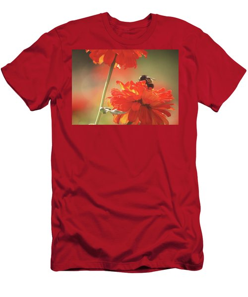 Men's T-Shirt (Slim Fit) featuring the photograph Bee And Flower II by Donna G Smith