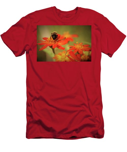 Men's T-Shirt (Slim Fit) featuring the photograph Bee And Flower IIi by Donna G Smith