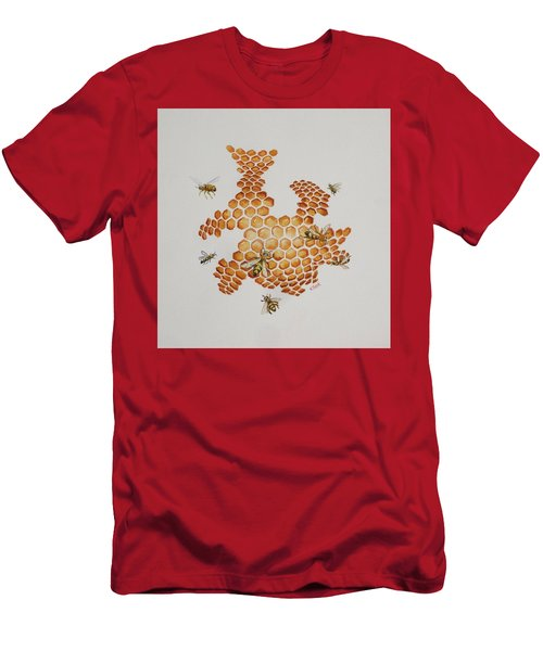 Men's T-Shirt (Slim Fit) featuring the painting Bee Hive # 1 by Katherine Young-Beck