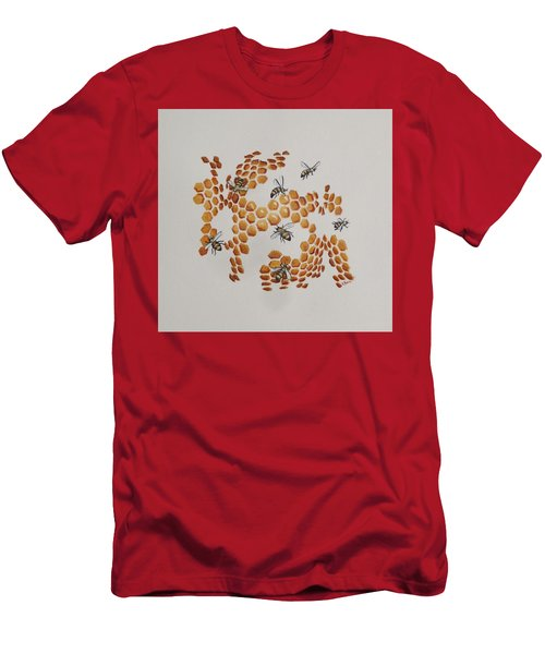 Men's T-Shirt (Slim Fit) featuring the painting Bee Hive # 2 by Katherine Young-Beck
