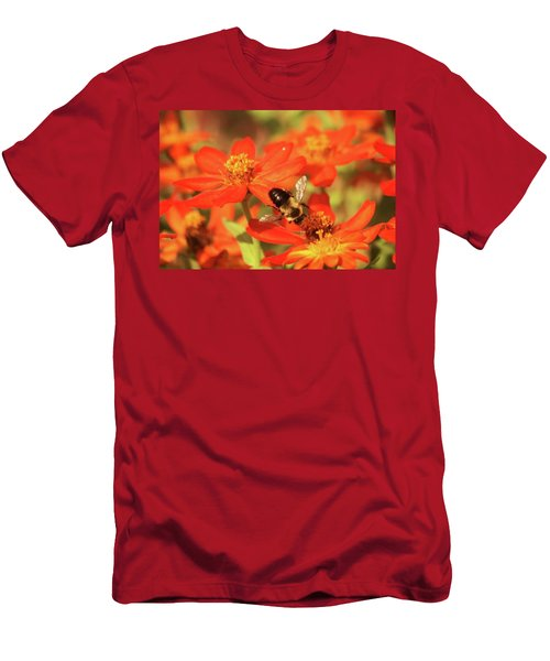 Men's T-Shirt (Slim Fit) featuring the photograph Bee On Flower by Donna G Smith
