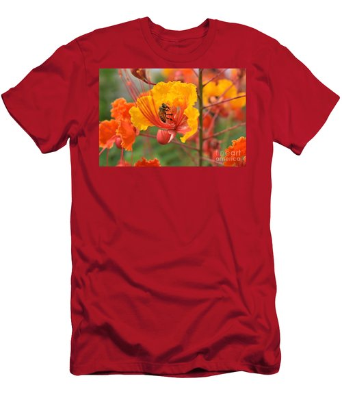 Men's T-Shirt (Athletic Fit) featuring the photograph Bee Pollinating Bird Of Paradise by James Fannin