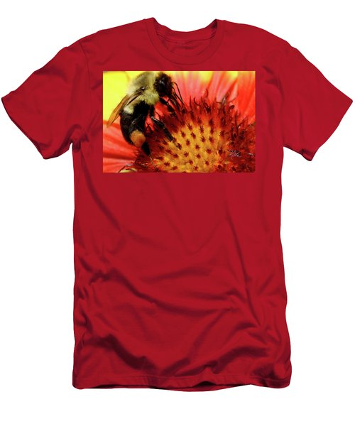 Bee Red Flower Men's T-Shirt (Slim Fit) by Meta Gatschenberger