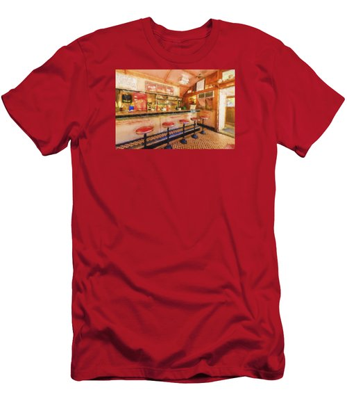 Men's T-Shirt (Slim Fit) featuring the photograph Bellows Falls Diner by Tom Singleton