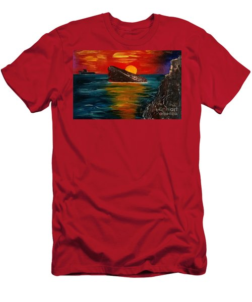 Men's T-Shirt (Slim Fit) featuring the painting Benidorm by Jeepee Aero