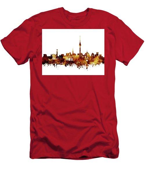 Berlin City Skyline Brown Men's T-Shirt (Slim Fit) by Bekim Art