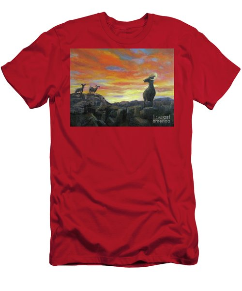Big Horn Sheep At Sunset Men's T-Shirt (Athletic Fit)