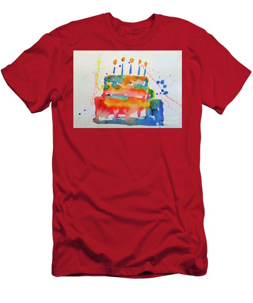 Men's T-Shirt (Athletic Fit) featuring the painting Birthday Blue Cake by Claire Bull