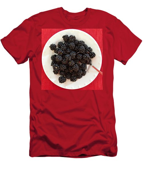 Men's T-Shirt (Athletic Fit) featuring the photograph Blackberries On A Plate by Tatiana Travelways