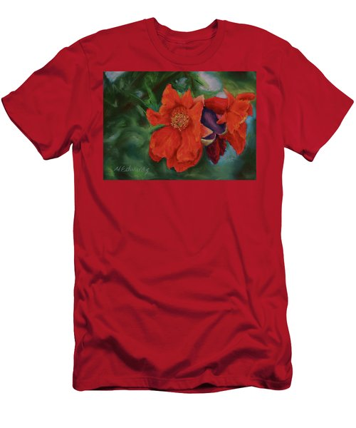 Men's T-Shirt (Slim Fit) featuring the painting Blooming Poms by Marna Edwards Flavell