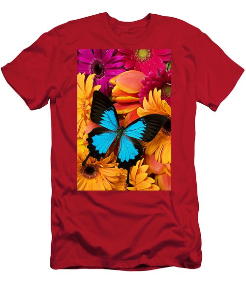 Blue Butterfly On Brightly Colored Flowers Men's T-Shirt (Athletic Fit)