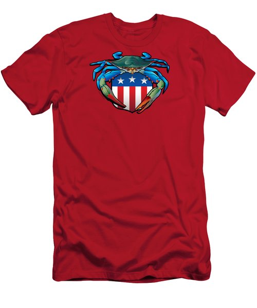 Blue Crab Usa Crest  Men's T-Shirt (Athletic Fit)