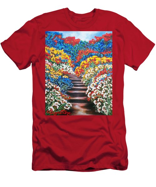 Men's T-Shirt (Slim Fit) featuring the painting Blue Garden Cascade by Sigrid Tune