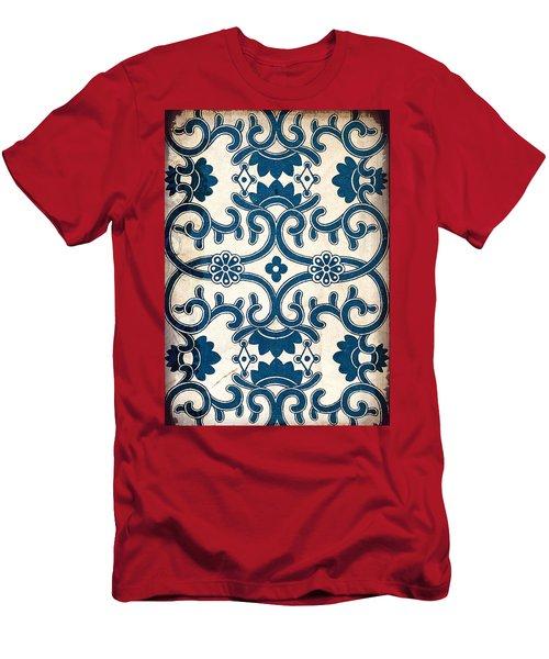 Blue Oriental Vintage Tile 02 Men's T-Shirt (Athletic Fit)