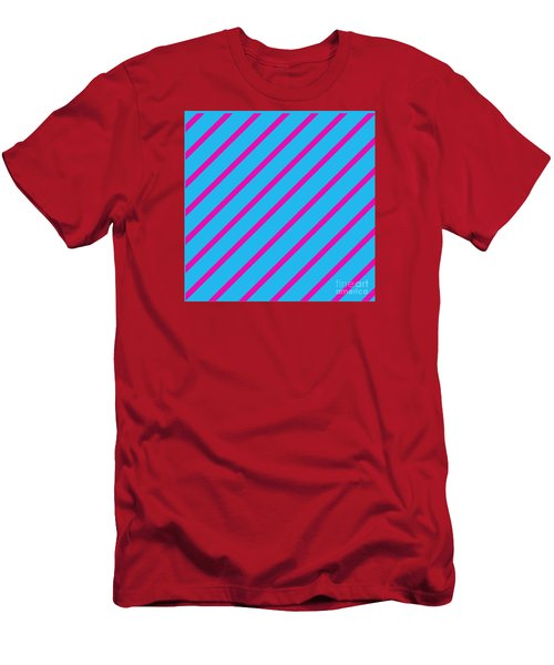 Blue Pink Angled Stripes Abstract Men's T-Shirt (Athletic Fit)