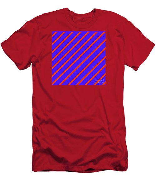 Blue Red Angled Stripes Abstract Men's T-Shirt (Athletic Fit)