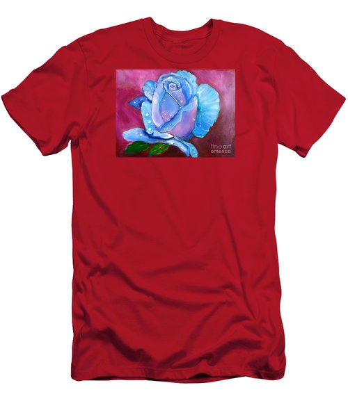 Blue Rose With Dew Drops Men's T-Shirt (Slim Fit) by Jenny Lee