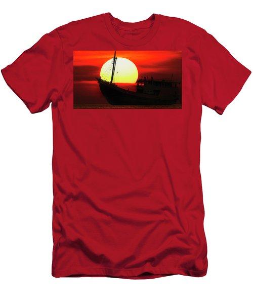 Men's T-Shirt (Athletic Fit) featuring the photograph Boatman Enjoying Sunset by Pradeep Raja Prints