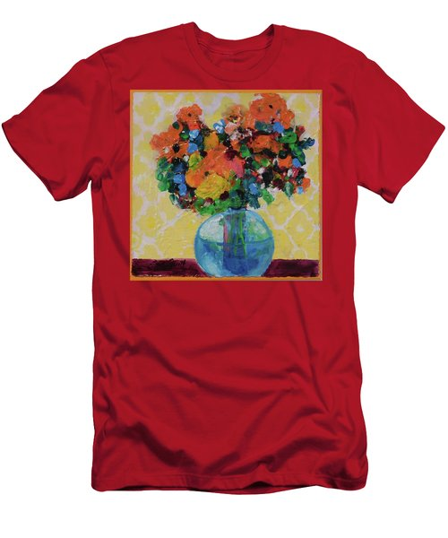 Men's T-Shirt (Slim Fit) featuring the painting Bouquet-a-day #7 Original Acrylic Painting Free Shipping 59.00 By Elaine Elliott by Elaine Elliott