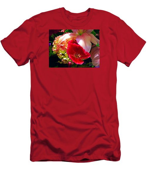 Men's T-Shirt (Slim Fit) featuring the photograph Bouquet Of Lilies Poppy And Hydrangea by Merton Allen