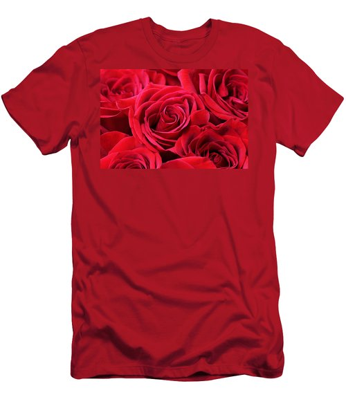 Bouquet Of Red Roses Men's T-Shirt (Slim Fit) by Peggy Collins