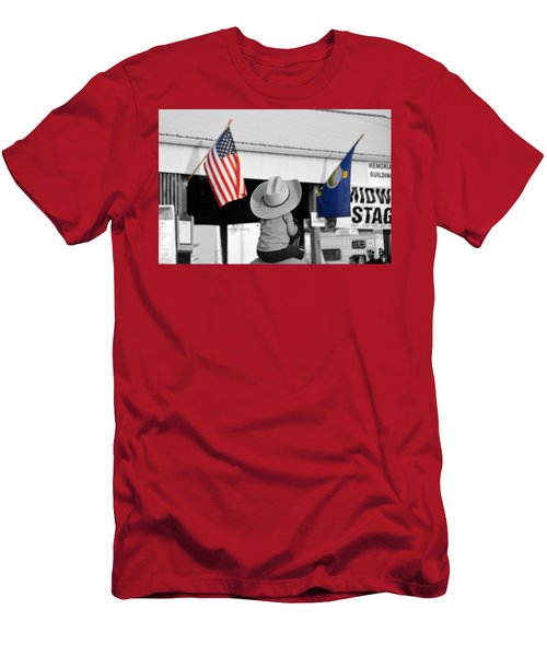 Boy With Two Flags Men's T-Shirt (Slim Fit) by Catherine Sherman
