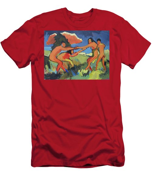 Boys And Girls Playing Men's T-Shirt (Athletic Fit)