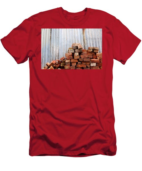 Men's T-Shirt (Slim Fit) featuring the photograph Brick Piled by Stephen Mitchell