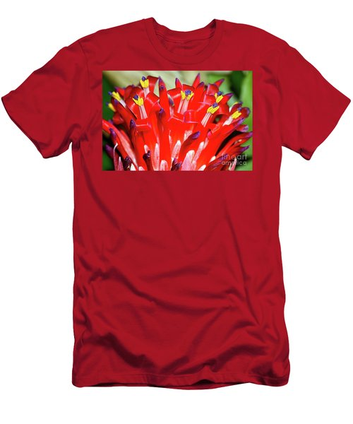 Men's T-Shirt (Slim Fit) featuring the photograph Bright Blooming Bromeliad By Kaye Menner by Kaye Menner