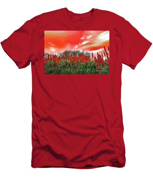 Men's T-Shirt (Athletic Fit) featuring the photograph Bright Red Aloe Flowers By Kaye Menner by Kaye Menner