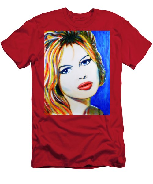 Men's T-Shirt (Athletic Fit) featuring the painting Brigitte Bardot Pop Art Portrait by Bob Baker