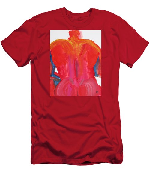 Men's T-Shirt (Slim Fit) featuring the painting Broad Back Red by Shungaboy X